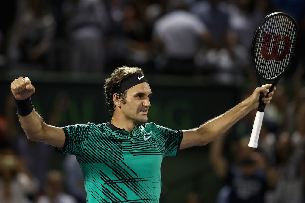 Roger Federer celebrates a win.