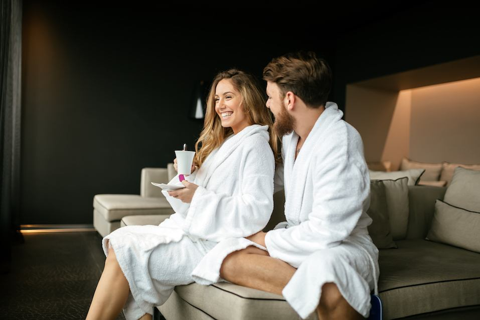 Romantic couple enjoying honeymoon escape and wellness weekend