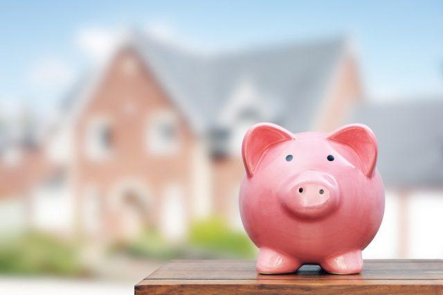 piggy bank in front of property