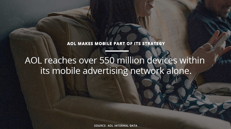 "AOL mission statement reads: ""AOL reaches over 550 million devices within its mobile advertising network alone."""