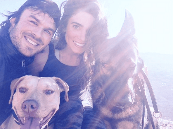 Ian Somerhalder, Nikki Reed, and their dogs
