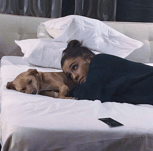 Ariana Grande and her dog Toulouse