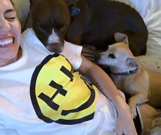Miley Cyrus and her dogs