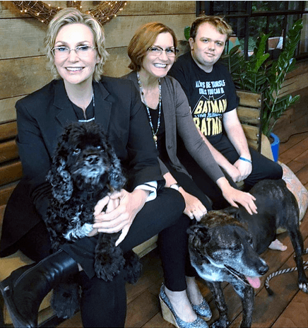 Jane Lynch with her dogs