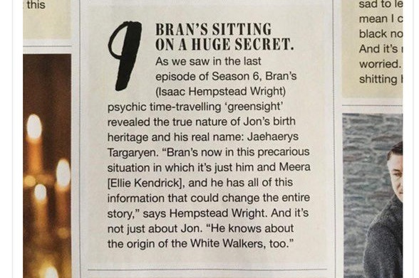 A magazine clipping, revealing Jon Snow's real name