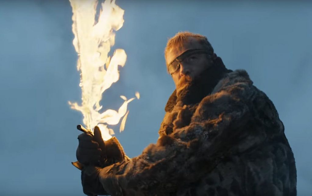 Beric Dondarrion, wielding a flaming sword while fighting in the snow