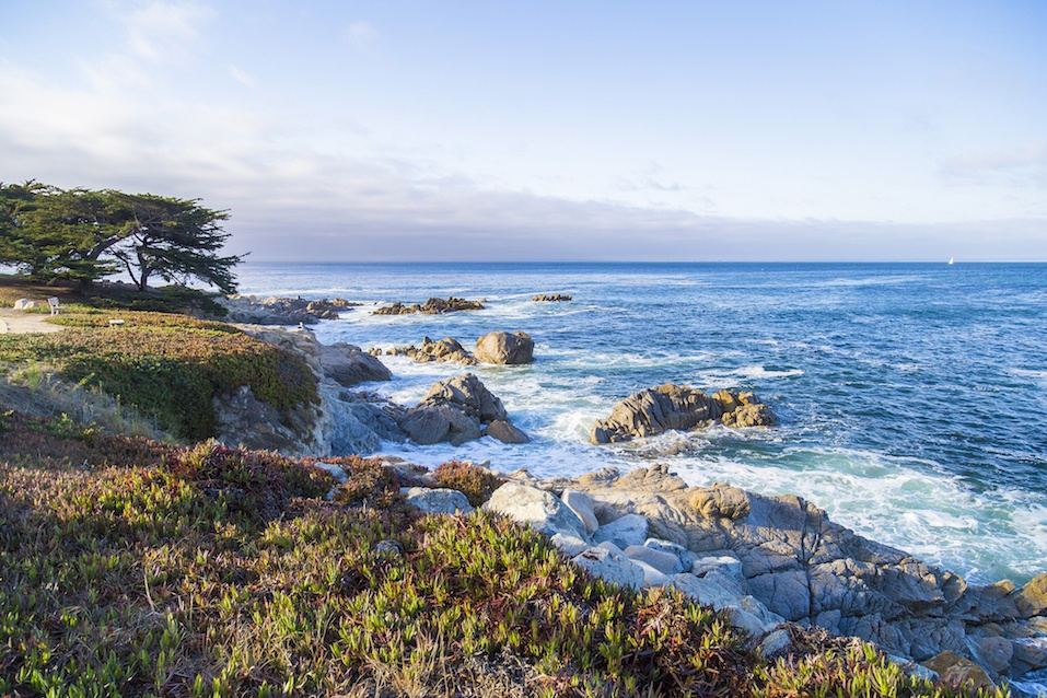 Seascape of Monterey Bay at Sunset in Pacific Grove