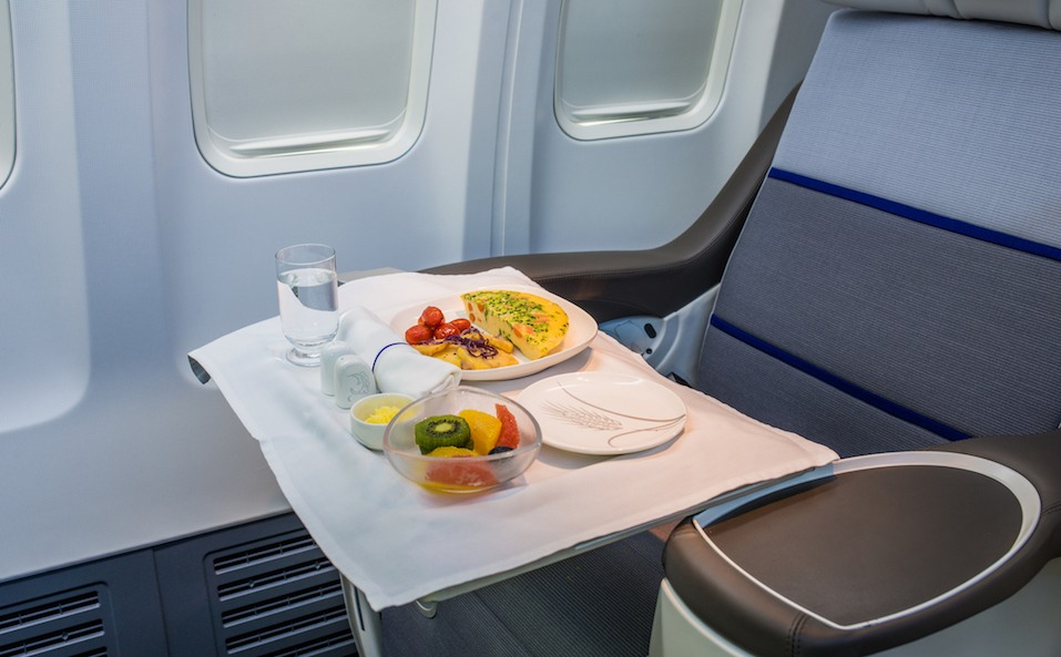 meal on airplane tray
