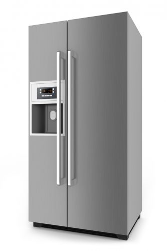 Silver fridge with side-by-side door system