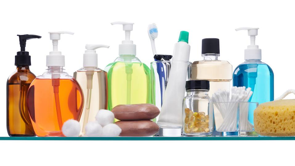 Soap dispensers, cotton swabs and other toiletries