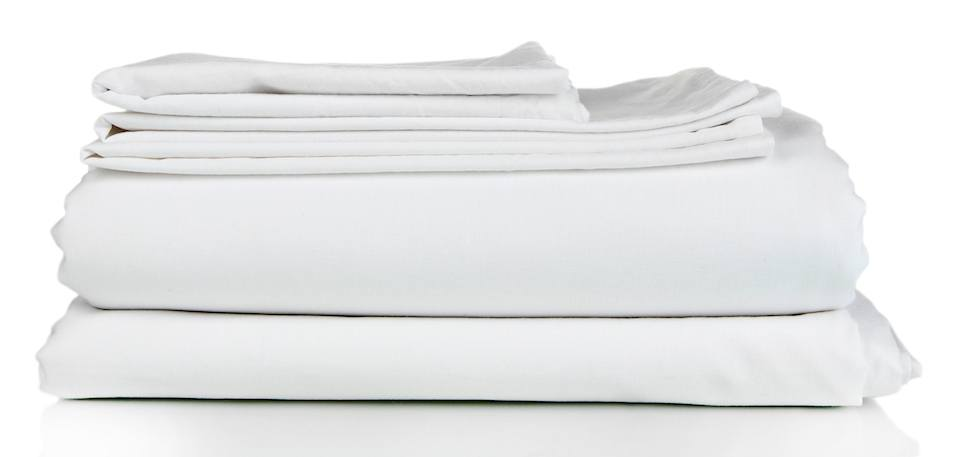 Stack of clean bedding sheets