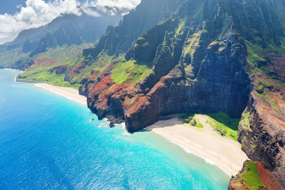 Stunning aerial view of Na Pali coast in Kauai Island
