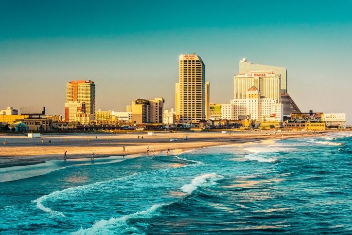 The skyline and Atlantic Ocean in Atlantic City, New Jersey.