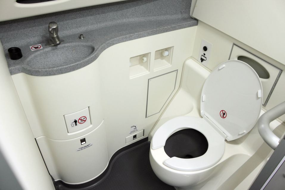 Toilet on board an airplane