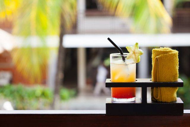 welcome drink in the hotel and spa Outdoor background Copy space
