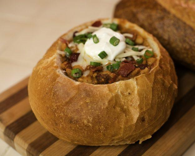 Turkey Chipotle Chili garnished with bacon