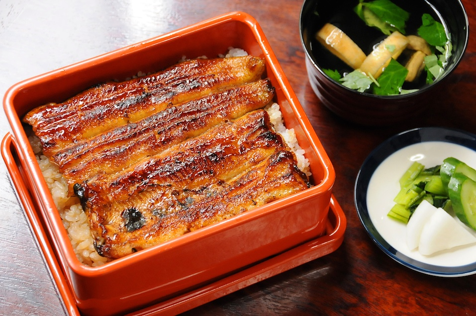 dish with grilled eel