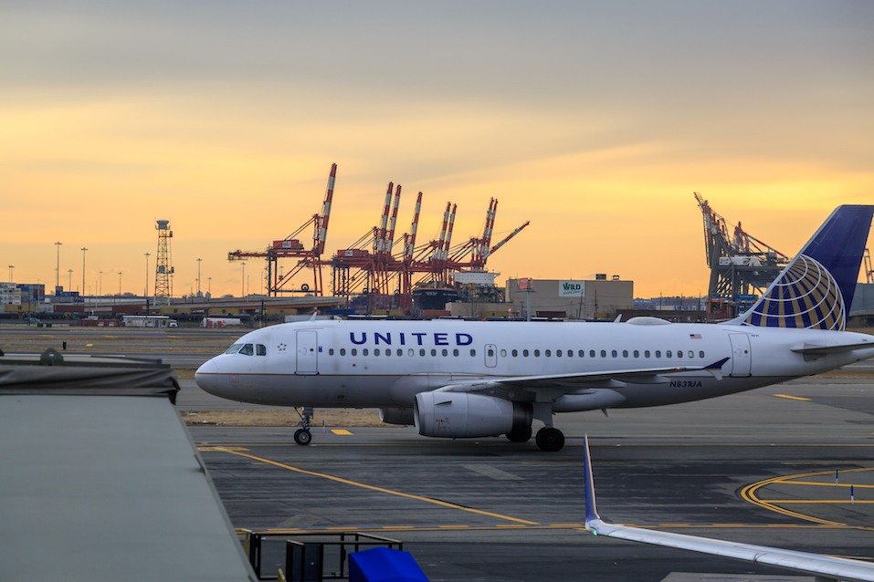 United airlines airplane in the newark airport.