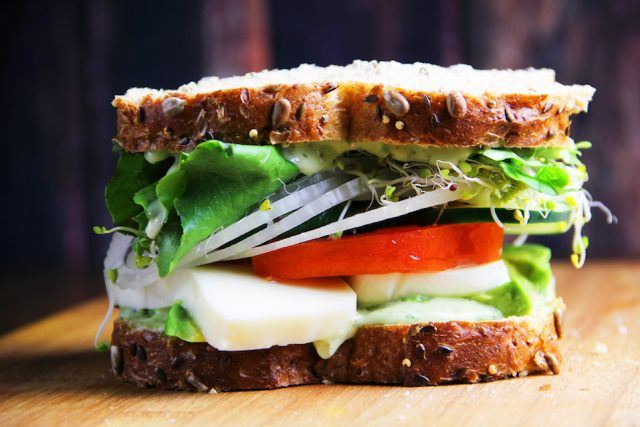 Panera's Mediterranean veggie sandwich is loaded with healthy ingredients.