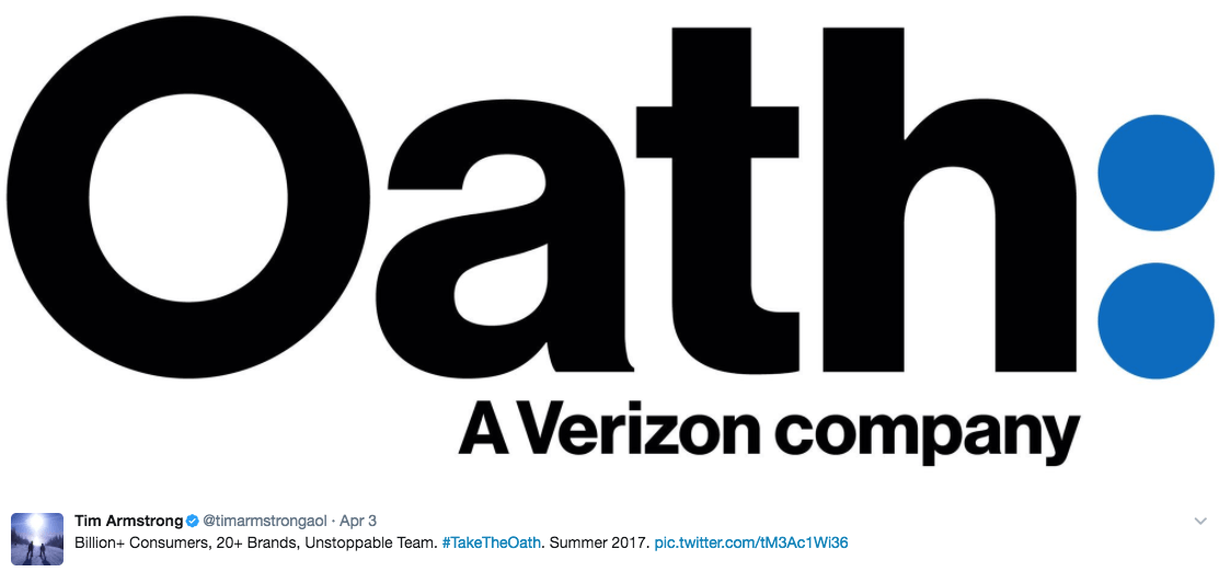 Tweet about Verizon's Oath