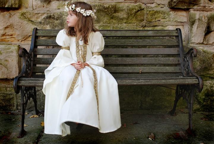 A beautiful young girl wearing a princess dress