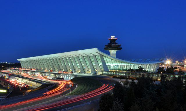 Main Terminal of Washington Dulles International Airport at dusk in Virginia, USA.