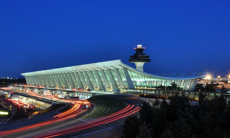 Main Terminal of Washington Dulles International Airport at dusk in Virginia, USA.