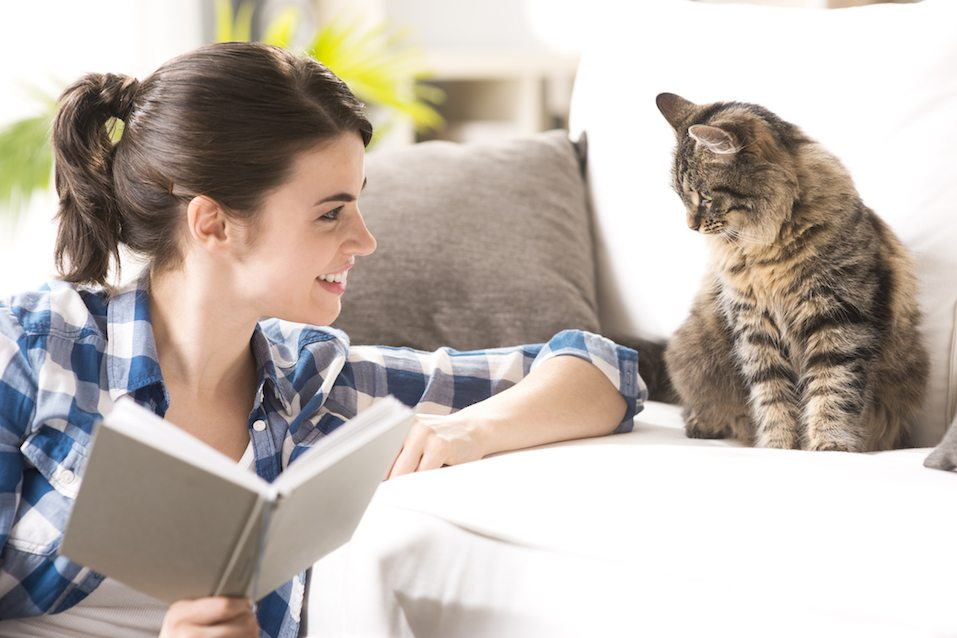 Smiling woman playing with her cat and holding a book in the living room.