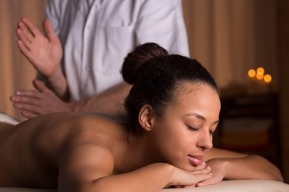 Woman relaxing in spa studio