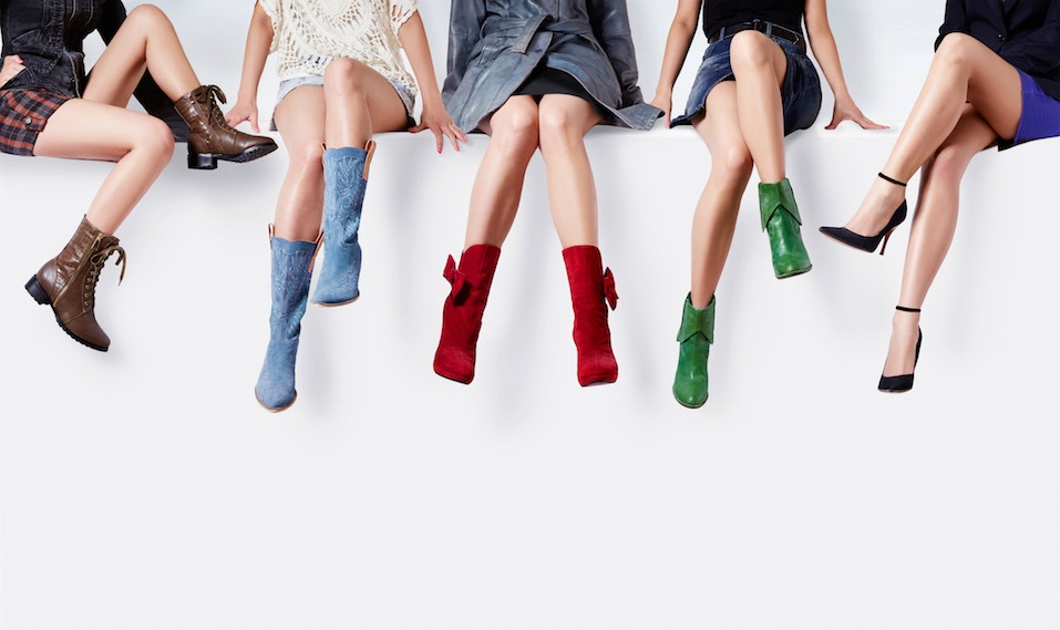 Many woman with different colorful shoes