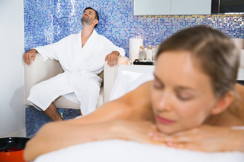man and woman in a spa
