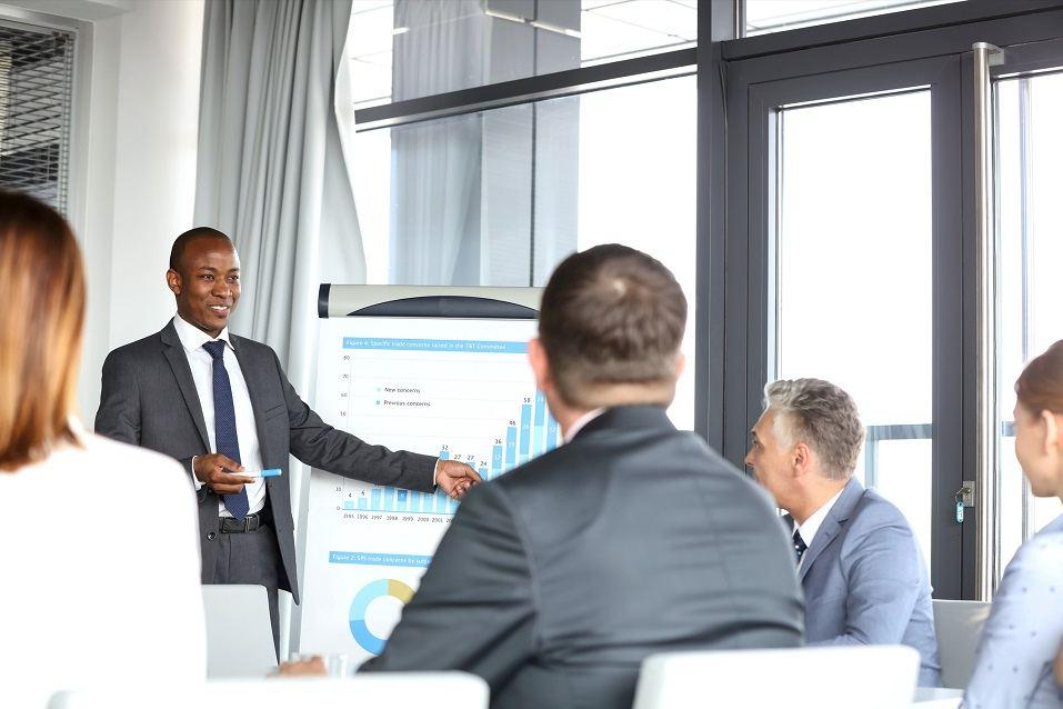 businessman giving presentation