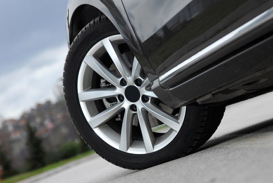 aluminium sport wheel on a black sport car