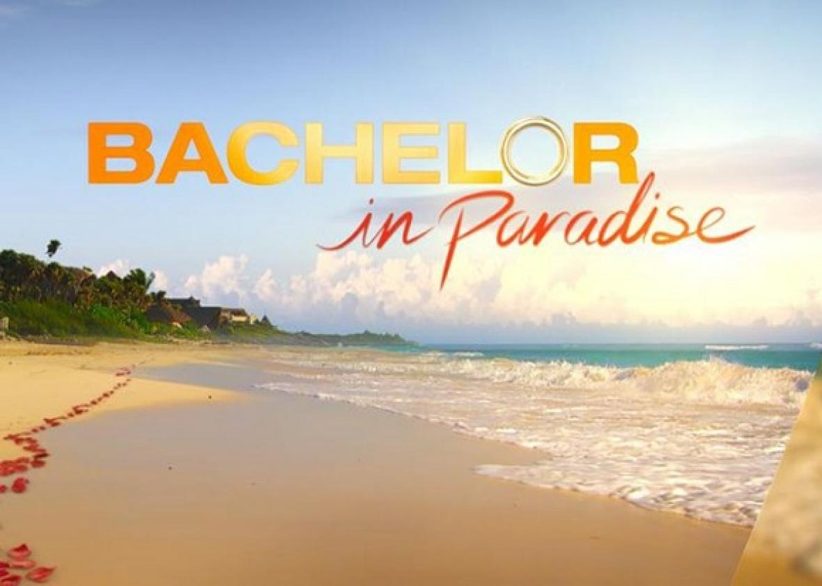 title card reading 'Bachelor in Paradise' with a beach behind it