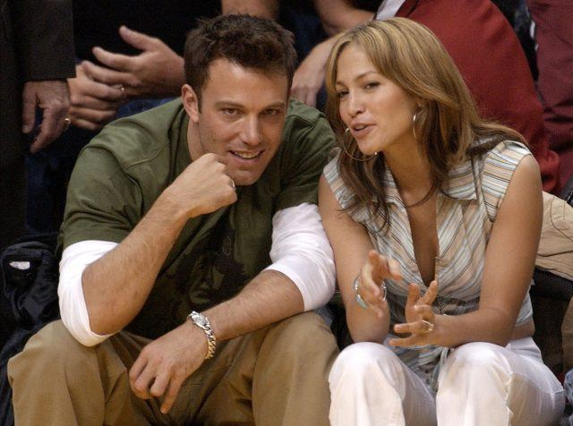 Jennifer Lopez sits with Ben Affleck at an L.A. Lakers game in 2003.