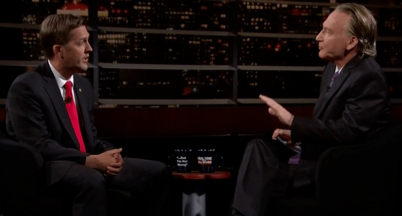 Ben Sasse and Bill Maher sitting across from one another talking