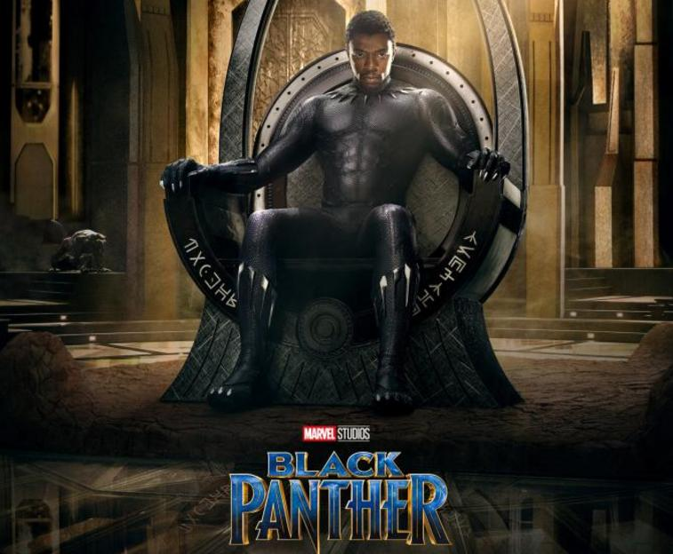 Black Panther, sitting in a throne, wearing his full costume without the facemask