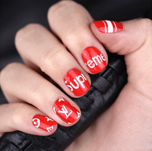 logo-painted nails
