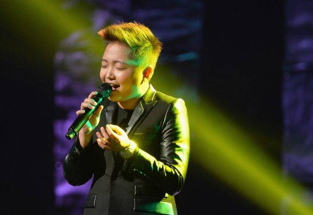 Jake Zyrus, formerly known as Charice, performing at the Pinoy Relief Benefit Concert.