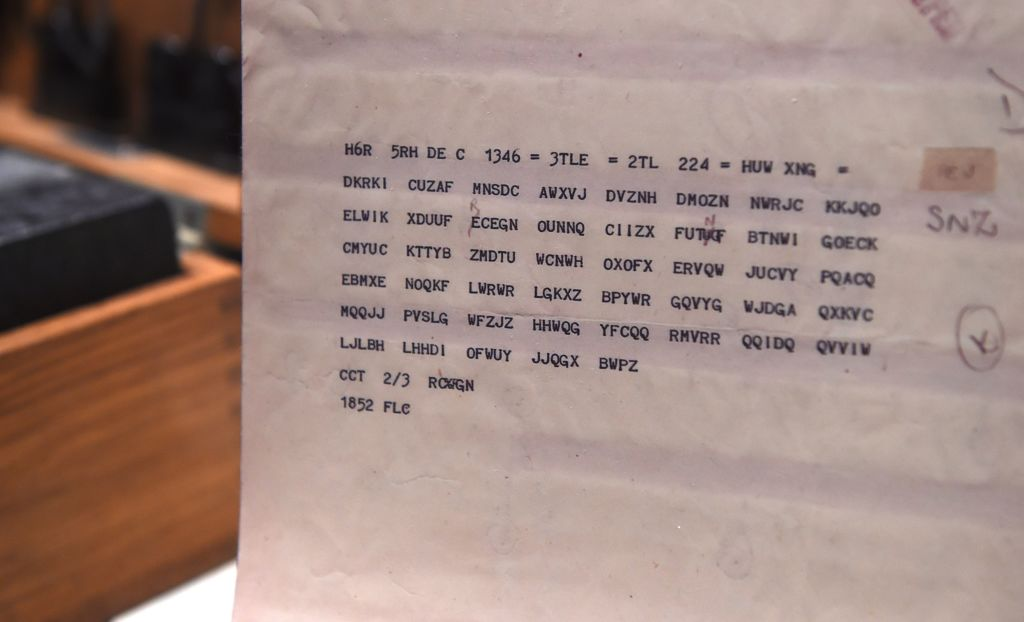 A paper with code words from the Enigma coding machine