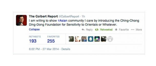 A tweet from the Colbert Report twitter account says, 'I am willing to show #Asian community I care by introducing the Ching-Chong Ding-Dong Foundation for Sensitivity to Orientals or Whatever.'