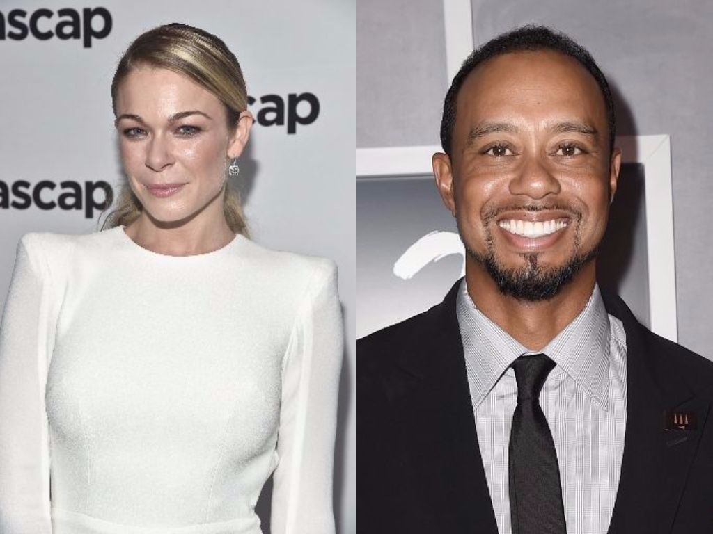LeAnn Rimes and Tiger Woods pose on red carpets