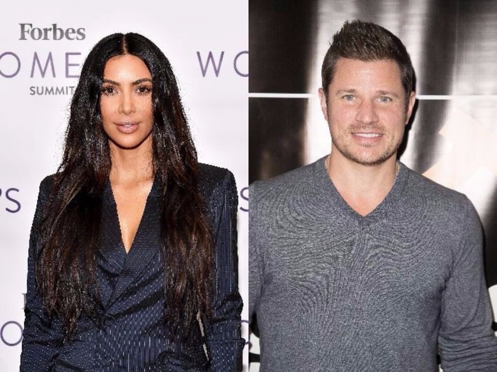 Kim Kardashian and Nick Lachey pose for cameras