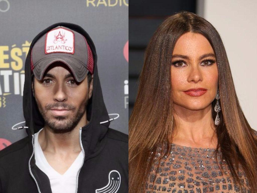 Enrique Iglesias and Sofia Vergara pose on the red carpet
