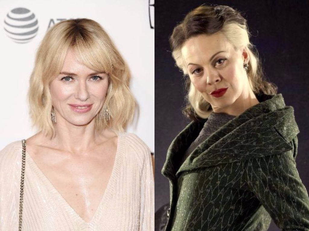 Naomi Watts on the red carpet and Narcissa Malfoy from Harry Potter