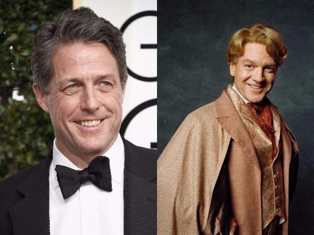 Hugh Grant on the Golden Globes red carpet and Kenneth Branagh poses as Gilderoy Lockhart in Harry Potter