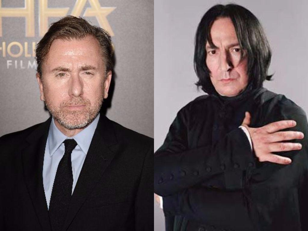 Tim Roth poses for cameras and Alan Rickman's Snape holds his hand to his shoulder in Harry Potter