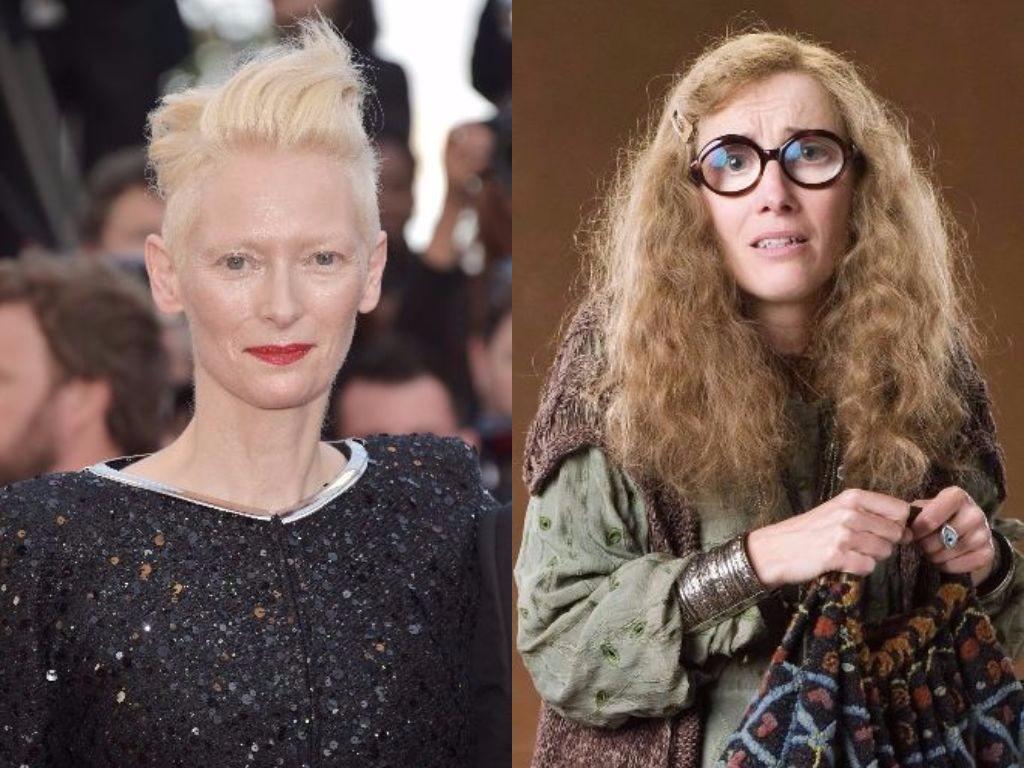 Tilda Swinton on the carpet and Emma Thompson as Sybil Trelawney on Harry Potter