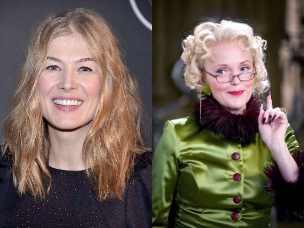 Rosamund Pike on the red carpet and Miranda Richardson holds up her finger as Rita Skeeter in Harry Potter