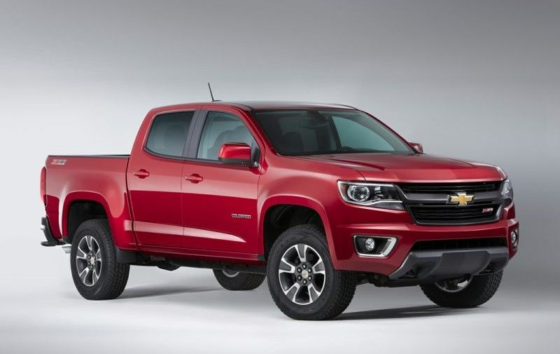 View of red 2017 Chevy Colorado in profile